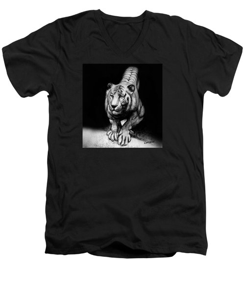 Men's V-Neck T-Shirt featuring the drawing Tiger Study by Kim Gauge