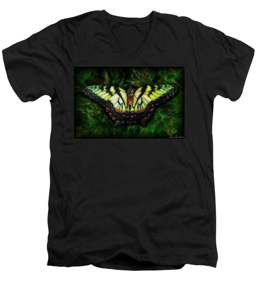 Tiger Swallowtail Men's V-Neck T-Shirt by Iowan Stone-Flowers