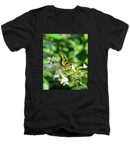 Men's V-Neck T-Shirt featuring the photograph Tiger Swallowtail  by Nancy Patterson