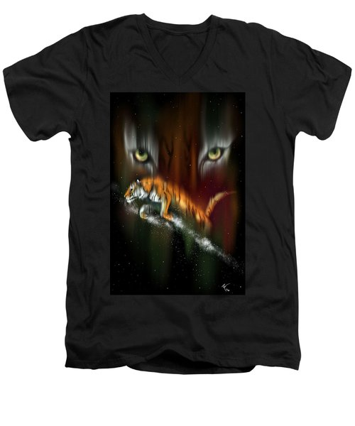 Tiger, Tiger Burning Bright Men's V-Neck T-Shirt