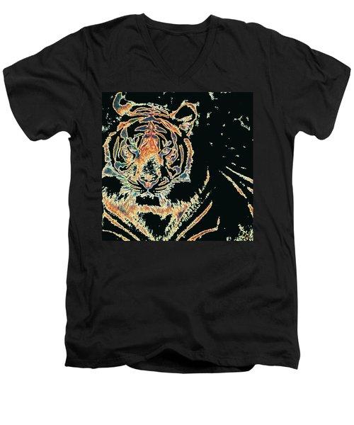 Tiger Tiger Men's V-Neck T-Shirt by Stephanie Grant