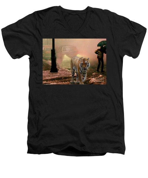 Tiger Walking Down A Snow Slushy Street Men's V-Neck T-Shirt by Wernher Krutein