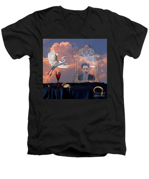 Men's V-Neck T-Shirt featuring the digital art Time Reflection by Alexa Szlavics