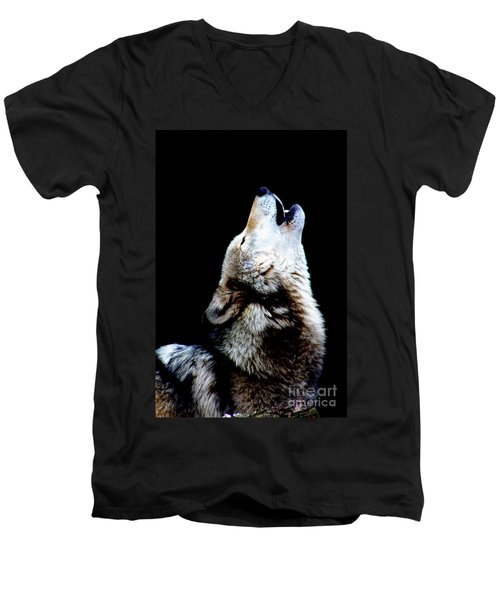 Time To Howl Men's V-Neck T-Shirt by Nick Gustafson