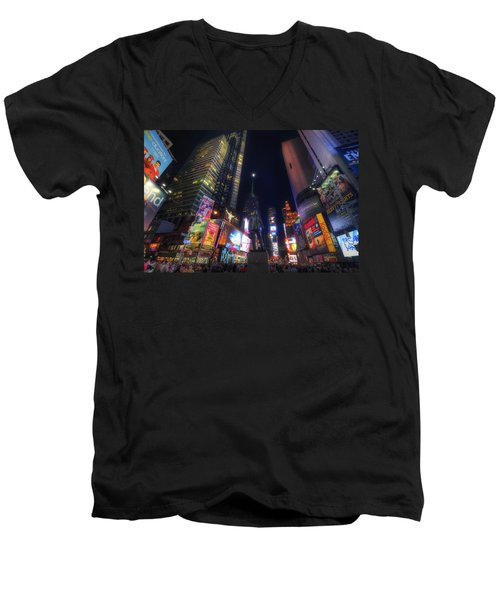 Times Square Moonlight Men's V-Neck T-Shirt by Yhun Suarez