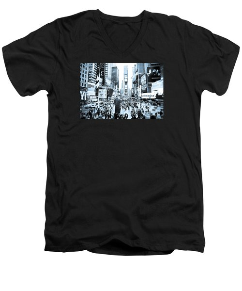 Times Square Men's V-Neck T-Shirt by Perry Van Munster