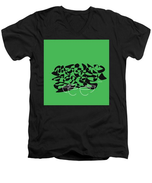 Men's V-Neck T-Shirt featuring the digital art Timpani In Green by Jazz DaBri
