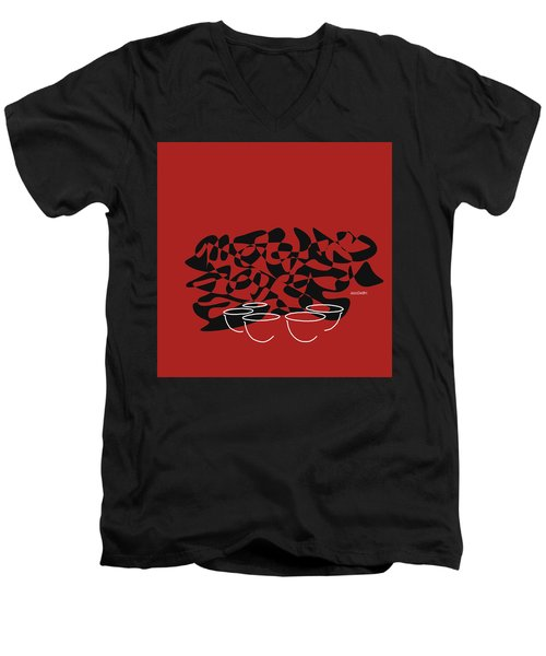 Men's V-Neck T-Shirt featuring the digital art Timpani In Orange Red by Jazz DaBri