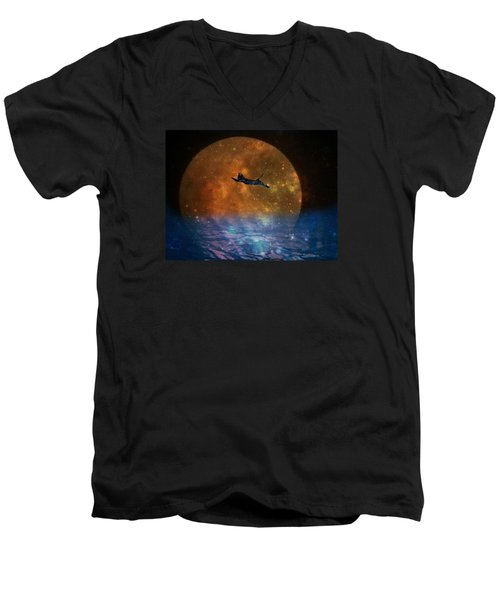 To The Moon And Back Cat Men's V-Neck T-Shirt by Kathy Barney