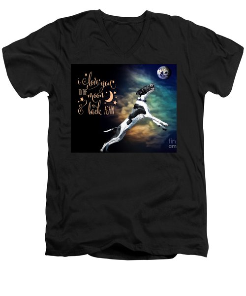 Men's V-Neck T-Shirt featuring the digital art To The Moon by Kathy Tarochione