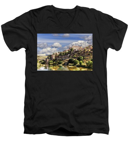 Toledo. Majestic Stone Fortress The Alcazar Is Visible From Any Part Of The City Men's V-Neck T-Shirt