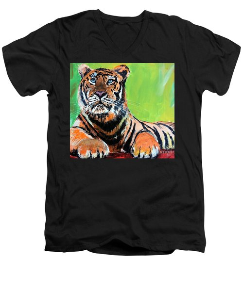 Men's V-Neck T-Shirt featuring the painting Tom Tiger by Tom Riggs