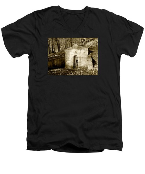 Tomb With A View In Sepia Men's V-Neck T-Shirt