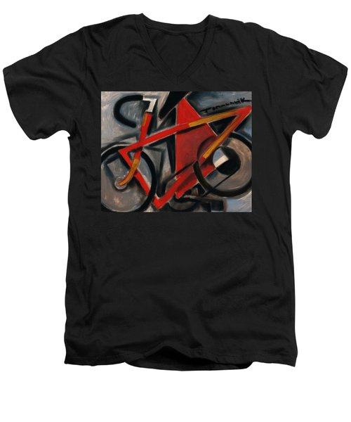 Tommervik Abstract Cubism Red Ten Speed Bike Art Print Men's V-Neck T-Shirt
