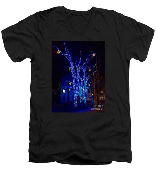 Tommy's Park, Portland, Maine,, Christmas 2015 Men's V-Neck T-Shirt