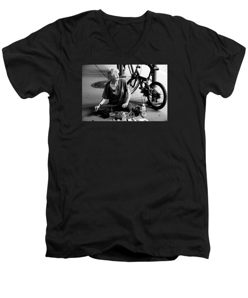 Men's V-Neck T-Shirt featuring the photograph Too Much Homelessness by Monte Stevens