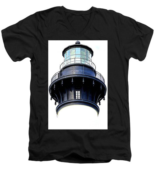 Top Of The Lighthouse Men's V-Neck T-Shirt by Shelia Kempf