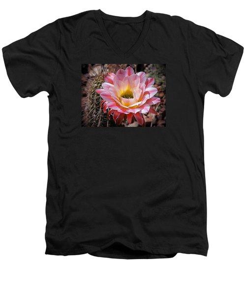 Torch Cactus Flower Men's V-Neck T-Shirt by Elaine Malott
