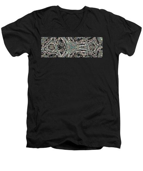 Men's V-Neck T-Shirt featuring the digital art Torn Patterns by Ron Bissett