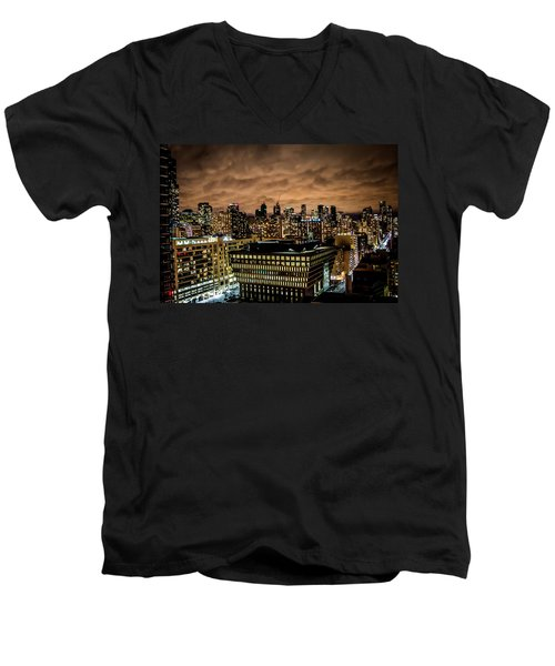 Toronto Dusk Men's V-Neck T-Shirt by Sara Frank