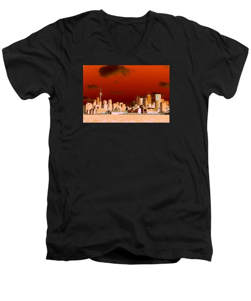 Men's V-Neck T-Shirt featuring the photograph Toronto Red Skyline by Valentino Visentini