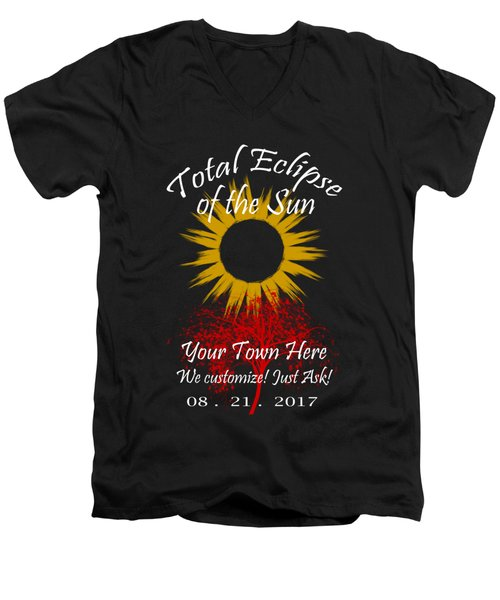 Total Eclipse Art For T Shirts Sun And Tree On Black Men's V-Neck T-Shirt