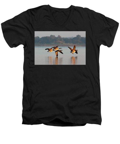 Touching Down At Sunrise Men's V-Neck T-Shirt