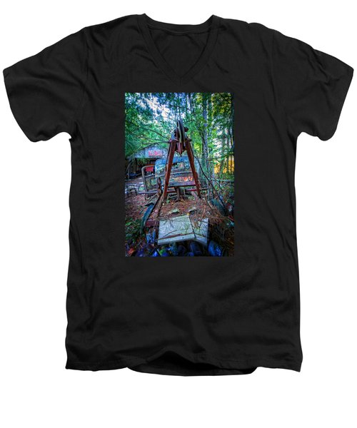 Men's V-Neck T-Shirt featuring the photograph Tow No More by Alan Raasch