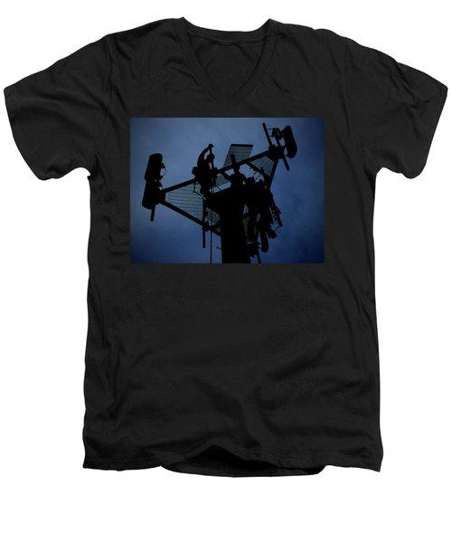Tower Top Men's V-Neck T-Shirt by Robert Geary