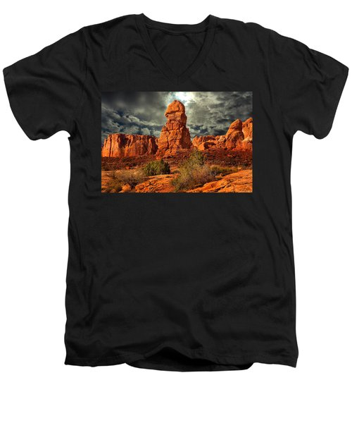Men's V-Neck T-Shirt featuring the photograph Towering Rock by Harry Spitz