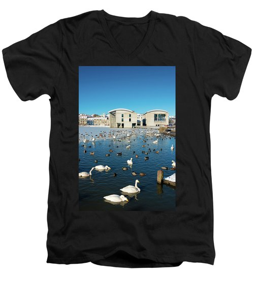 Men's V-Neck T-Shirt featuring the photograph Town Hall And Swans In Reykjavik Iceland by Matthias Hauser