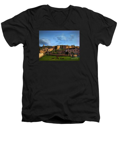 Town Of Assisi, Italy II Men's V-Neck T-Shirt by Al Bourassa
