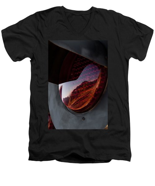 Men's V-Neck T-Shirt featuring the photograph Track Reflections by Colleen Coccia