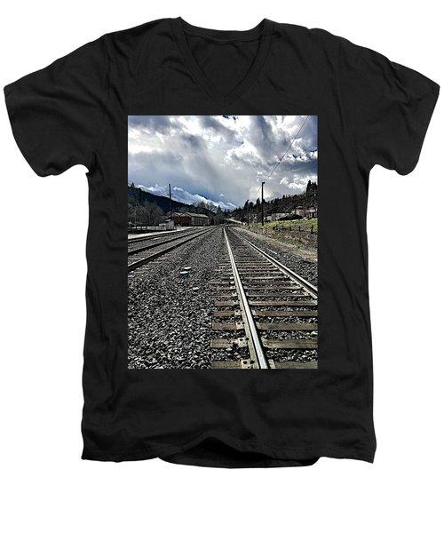 Men's V-Neck T-Shirt featuring the photograph Tracks by JoAnn Lense
