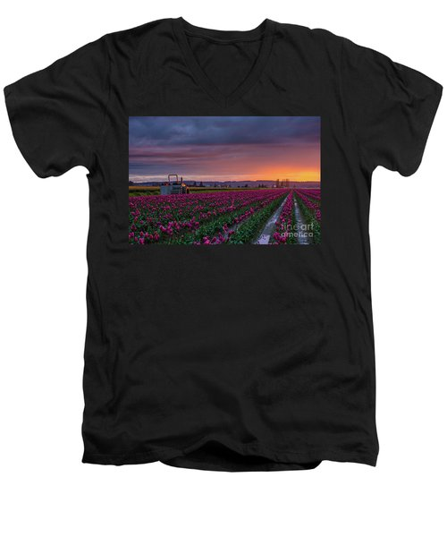 Men's V-Neck T-Shirt featuring the photograph Tractor Waits For Morning by Mike Reid