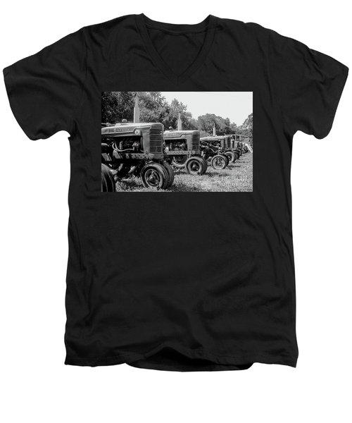 Men's V-Neck T-Shirt featuring the photograph Tractors by Brian Jones