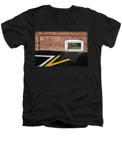 Men's V-Neck T-Shirt featuring the photograph Traffic Line Conversion In Window by Gary Slawsky
