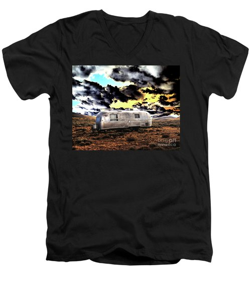 Men's V-Neck T-Shirt featuring the photograph Trailer by Jim and Emily Bush