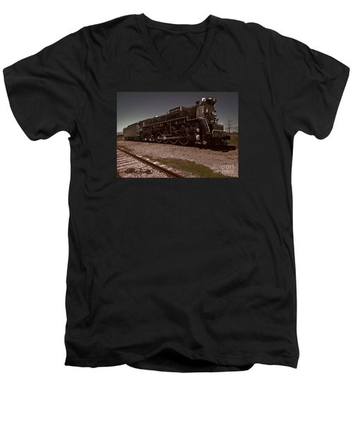 Men's V-Neck T-Shirt featuring the photograph Train Engine # 2732 by Melissa Messick