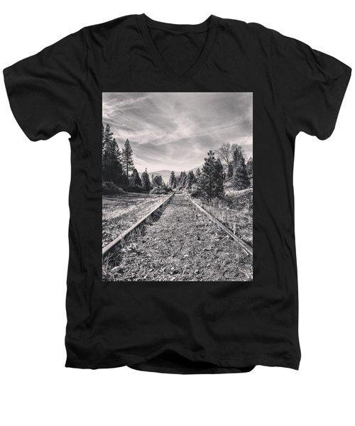 Train Tracks Men's V-Neck T-Shirt