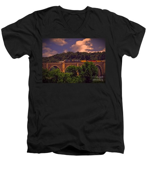 Men's V-Neck T-Shirt featuring the photograph Train Trestle Over The James by Melissa Messick
