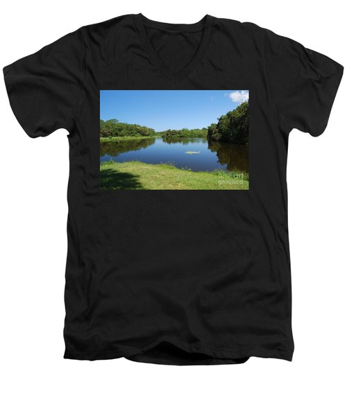 Men's V-Neck T-Shirt featuring the photograph Tranquil Lake by Gary Wonning