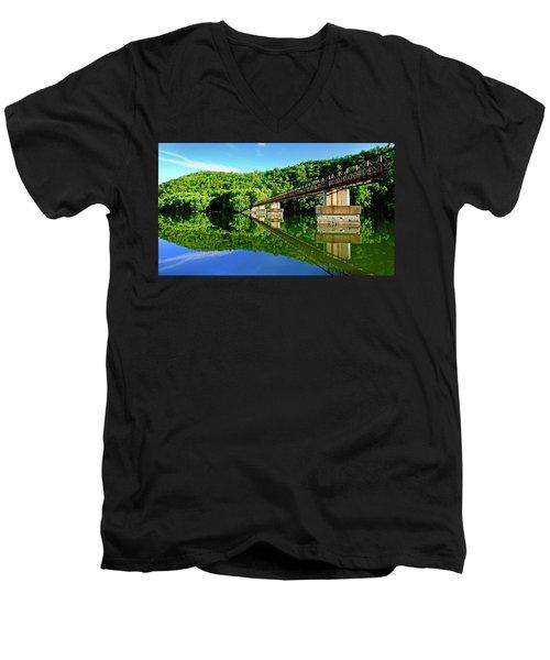 Tranquility At The James River Footbridge Men's V-Neck T-Shirt