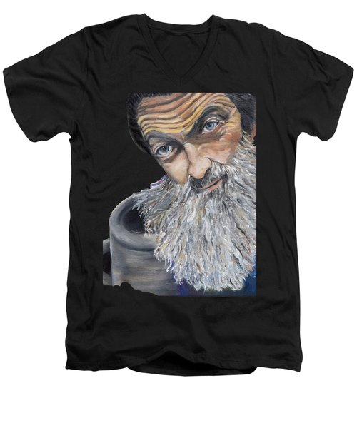 Popcorn Sutton Shines With Transparent Background -for T-shirts And Other Fabric Items- Moonshine Men's V-Neck T-Shirt by Jan Dappen