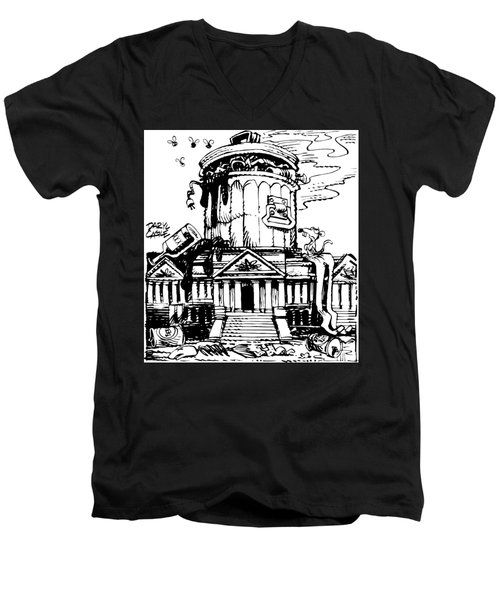 Men's V-Neck T-Shirt featuring the drawing Trash Congress by Daryl Cagle