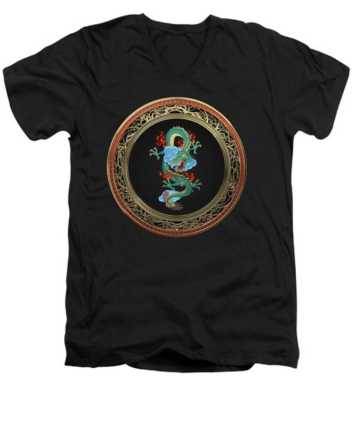 Treasure Trove - Turquoise Dragon Over Black Velvet Men's V-Neck T-Shirt by Serge Averbukh
