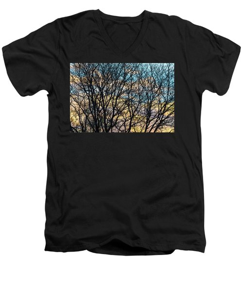 Tree Branches And Colorful Clouds Men's V-Neck T-Shirt by James BO Insogna