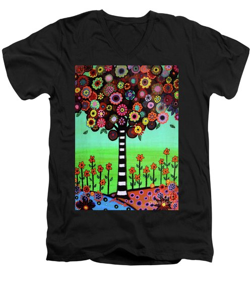 Tree Of Life Men's V-Neck T-Shirt by Pristine Cartera Turkus