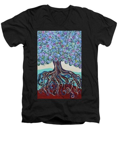 Tree Of Life-spring Men's V-Neck T-Shirt
