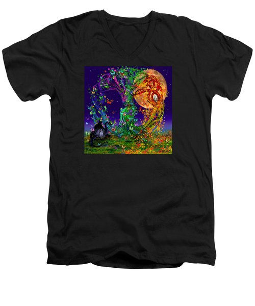 Tree Of Life With Owl And Dragon Men's V-Neck T-Shirt